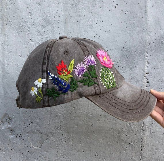 Hand Embroidered Hat Embroidered Flower Hat Embroidery Hat Etsy Embroidered Hats Hat Embroidery Embroidered Flowers
