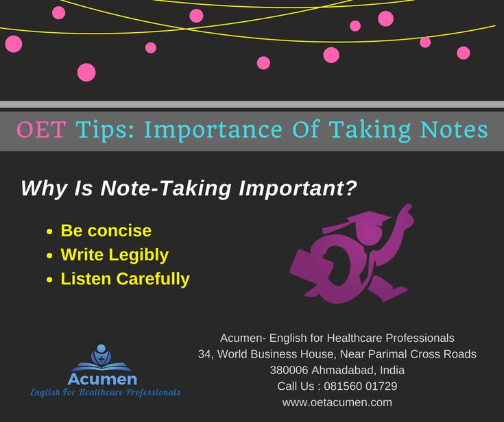 #OET #Tips: Importance of Taking Notes  #Enroll today at our #Baroda and #Ahmedabad Branch Help Line No. 081560 01729