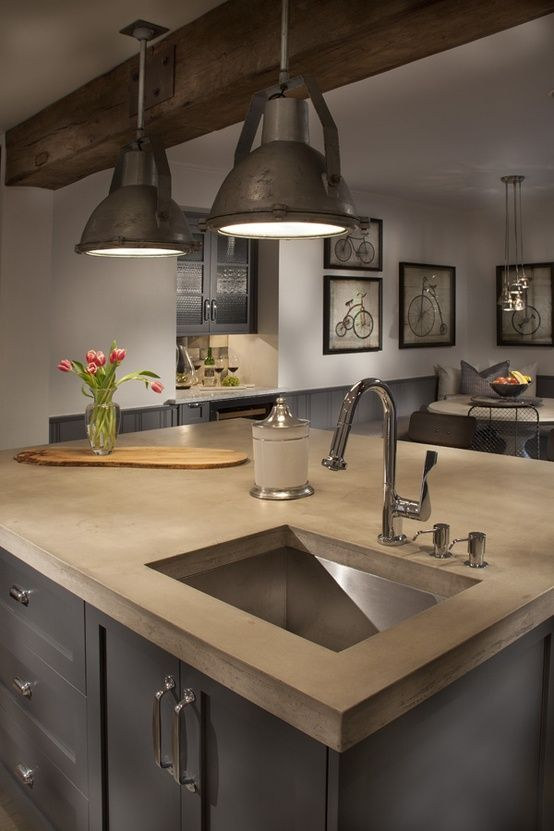 perfect for the new house.... love the lights... might need something on a smaller scale. Love the concrete counters and their color... repaint the cabinets a dark grey .... its just perfect...
