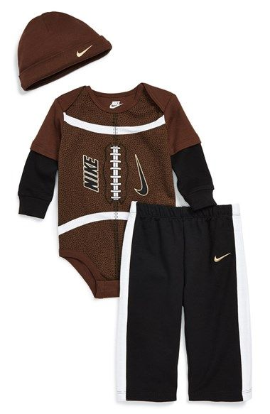 Free shipping and returns on Nike 'Multi Sport' Three-Piece Set (Baby Boys) at Nordstrom.com. Offered in an array of comfy styles, a fun three-piece set includes a soft cotton bodysuit with sporty graphics and contrast sleeves, elastic-waist pants, and a coordinating hat to keep your little superfan cozy throughout the season.