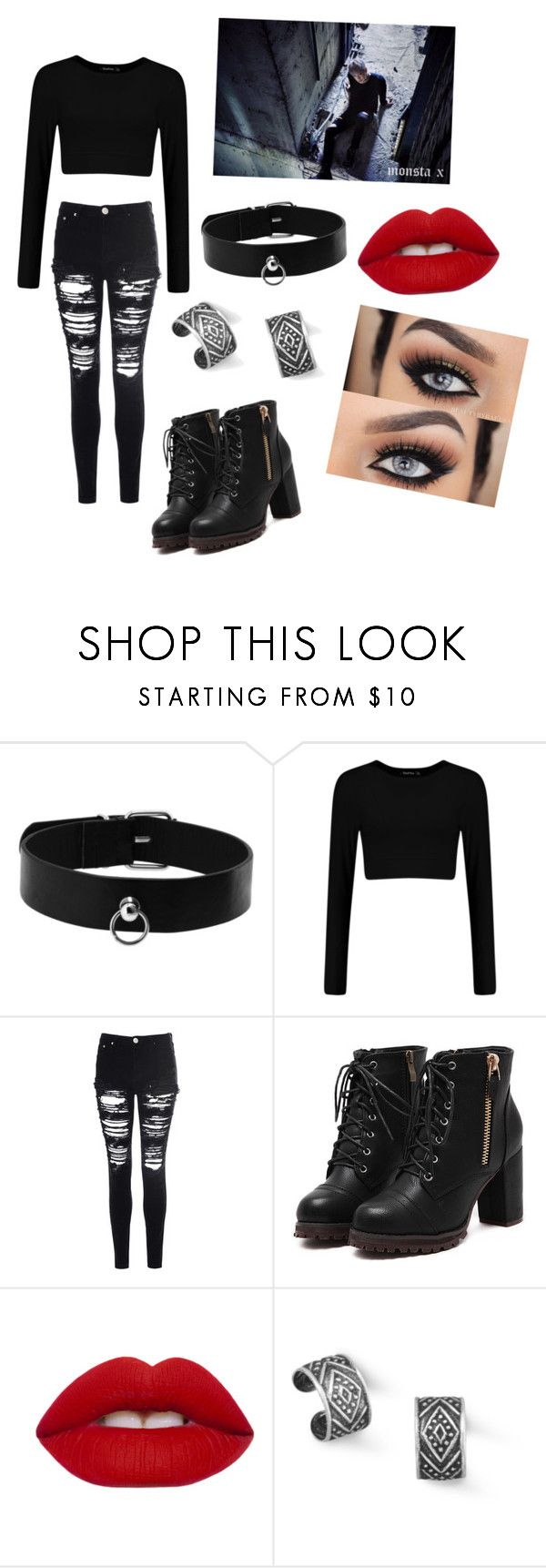 """""""Monsta X Wonho:Stuck"""" by kaelynn564 on Polyvore featuring Glamorous, Lime Crime and BillyTheTree"""