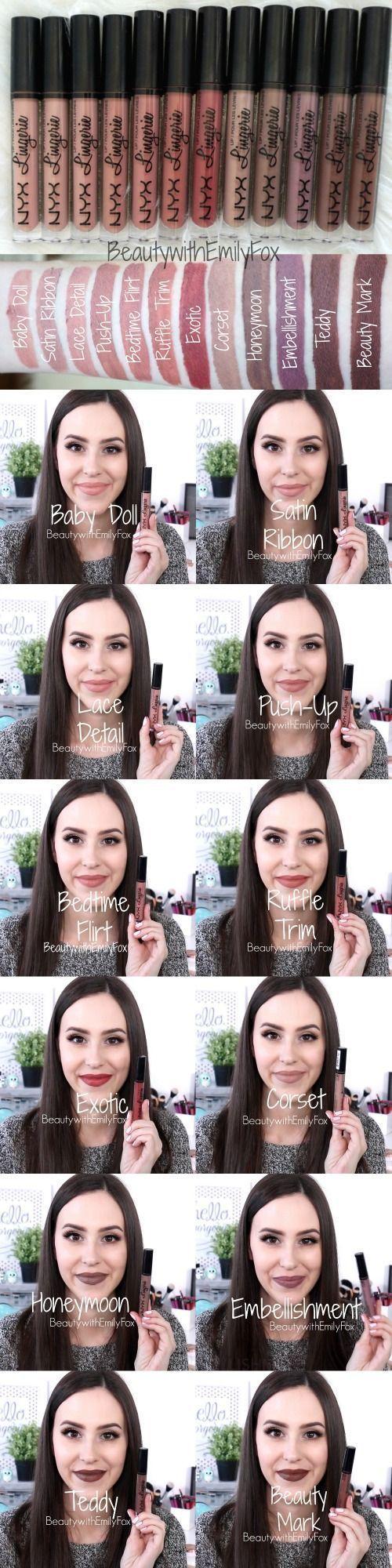 NYX Lingerie Liquid Lipstick Swatches - Baby Doll, Satin Ribbon, Lace Detail, Push-Up, Bedtime Flirt, Ruffle Trim, Exotic, Corset, Honeymoon, Embellishment, Teddy and Beauty Mark