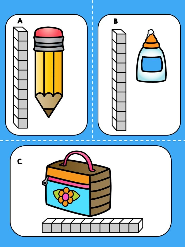 Free Back to School Measurement Math Center >> Children measure school objects and record their answers.