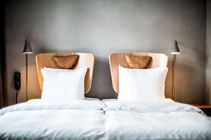 Hotel SP34, Copenhagen, Gray Walls, Bent Plywood Headboards, Bed, Pillows