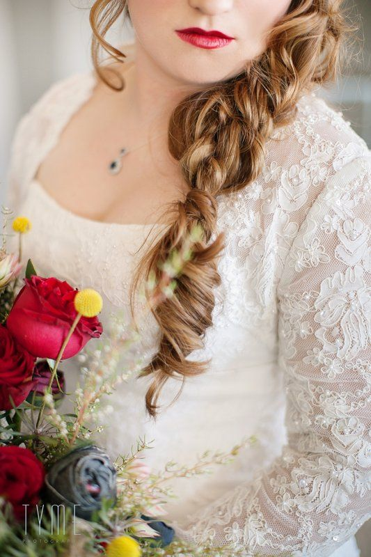 Winter wedding bouquet, denim roses, red roses, fynbos by Eco-Chic Weddings.  And stunning textured winter braid and rouge lips by Erin Smylie-Walsh Make Up Artist. Photo By Tyme Photography