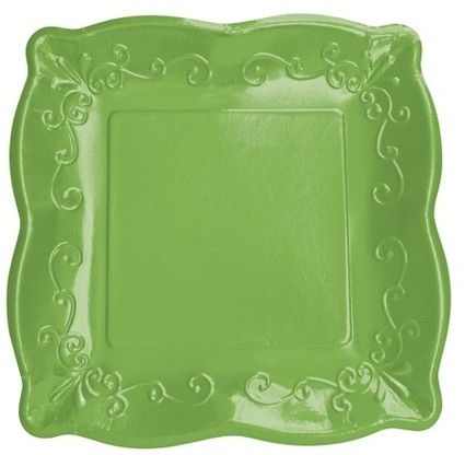 Vibrant Green 10  Glossed Square Paper Dinner Plates - 48 Square Paper Plates #dinnerware & 16 best PRETTY PAPER DINNERWARE images on Pinterest | Paper plates ...
