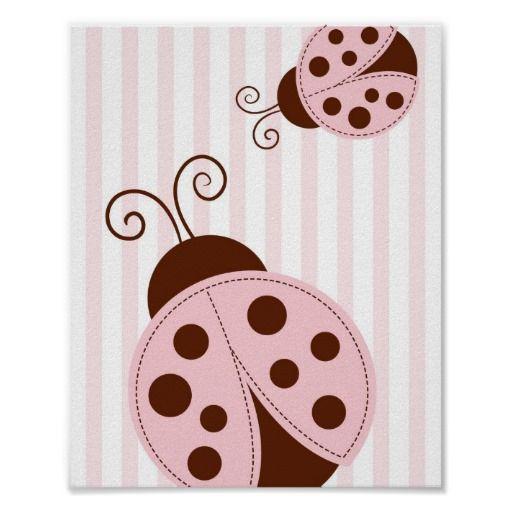 Pink Mod Ladybug Nursery Wall Art Print 8X10