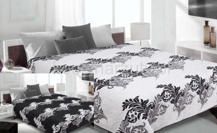 Czarny ornament narzuta biała dwustronna na łóżko