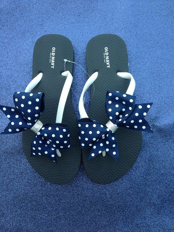 Flip flops with small bow cheer flip flops by SpotlightCheerBows