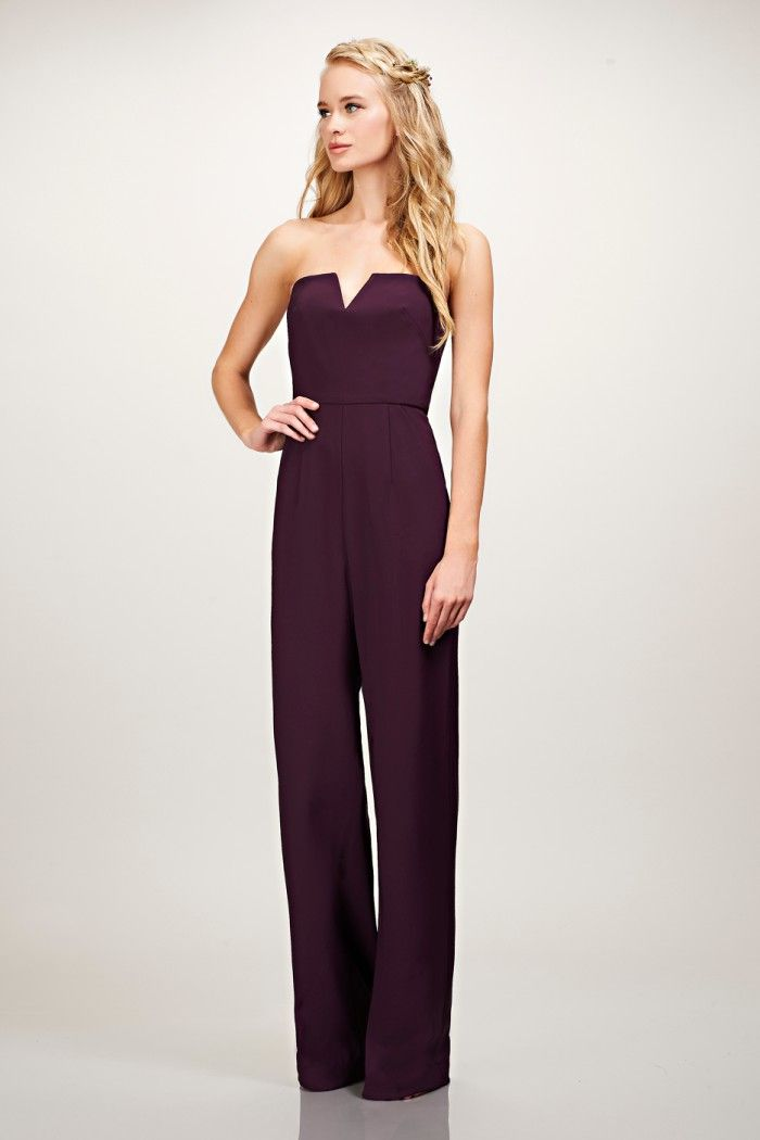 Strapless jumpsuit for bridesmaids or groomsmaids