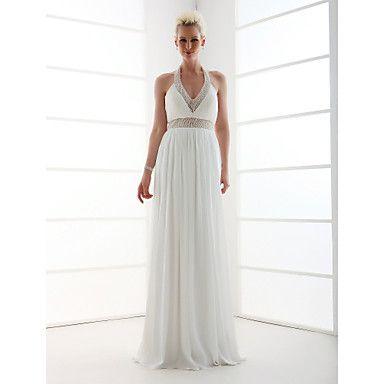 Sheath/Column Halter Floor-length Satin Chiffon Wedding Dress  – USD $ 199.99