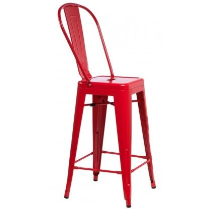 Stołek barowy ParisBack czerwony insp. Tolix