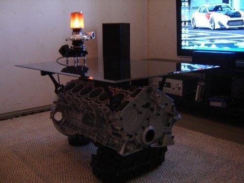 Engine block coffee table idea