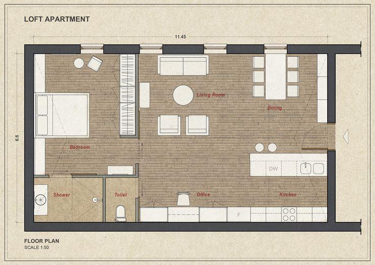 Loft Apartment 75 sqm, Floor Plan - www.pzarch.gr