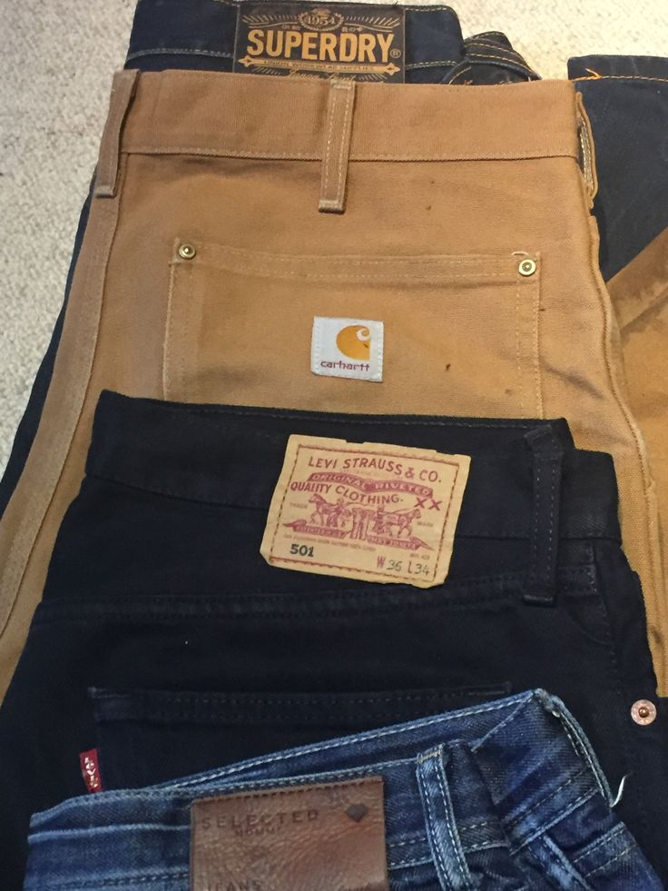 All these lovely jeans, a mans way to show his style 😎🐱🐉 #Carhartt #levis #selected #superdry #jeans #workwear #mens wear