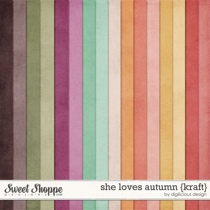 She Loves Autumn {Kraft} by Digilicious Design solid fall shades digital papers perfect for scrapbooking projects.