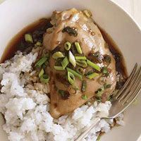 Bone-in chicken thighs. soy sauce, honey, scallions/green onion, ginger powder (if not  fresh), serve over rice or add mushrooms, or serve with crunchy cucumber slices