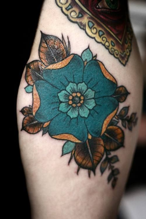 Turquoise floral tattoo  -  Alice Carrier  @ Anatomy Tattoo in Portland, Oragon