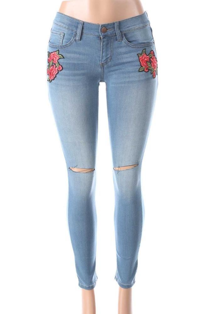 Salt Tree Women's Sneak Peek Black 3D Floral Embroidered Jeans, US Seller