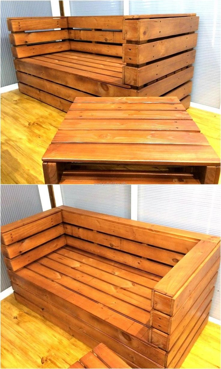 Every room in a home requires furniture and it looks incomplete without the table, here is presented an awesome idea for which the shipping pallets can be reused to make wood pallet furniture set at home. The seat is simple as well the table, but can give a distinctive look to the room.