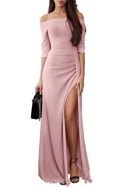 018f808cfe Off Shoulder Grey Metallic Glitter Maxi Her Fashion Party Dress  #womensfashion #dresses #clothing #shopping