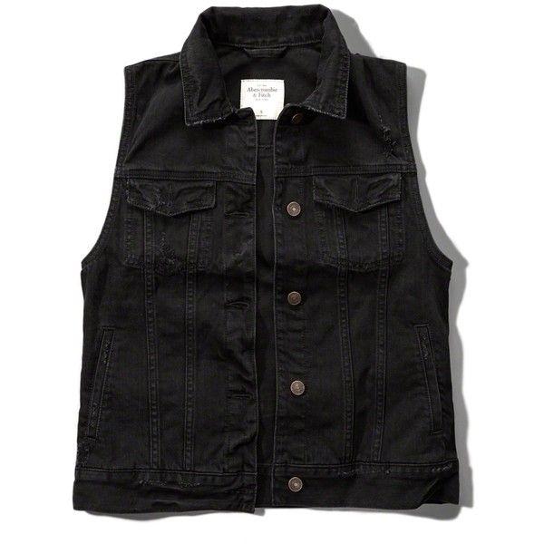Abercrombie & Fitch Black Denim Vest ($48) ❤ liked on Polyvore featuring outerwear, vests, black, pocket vest, denim waistcoat, denim vests and vest waistcoat