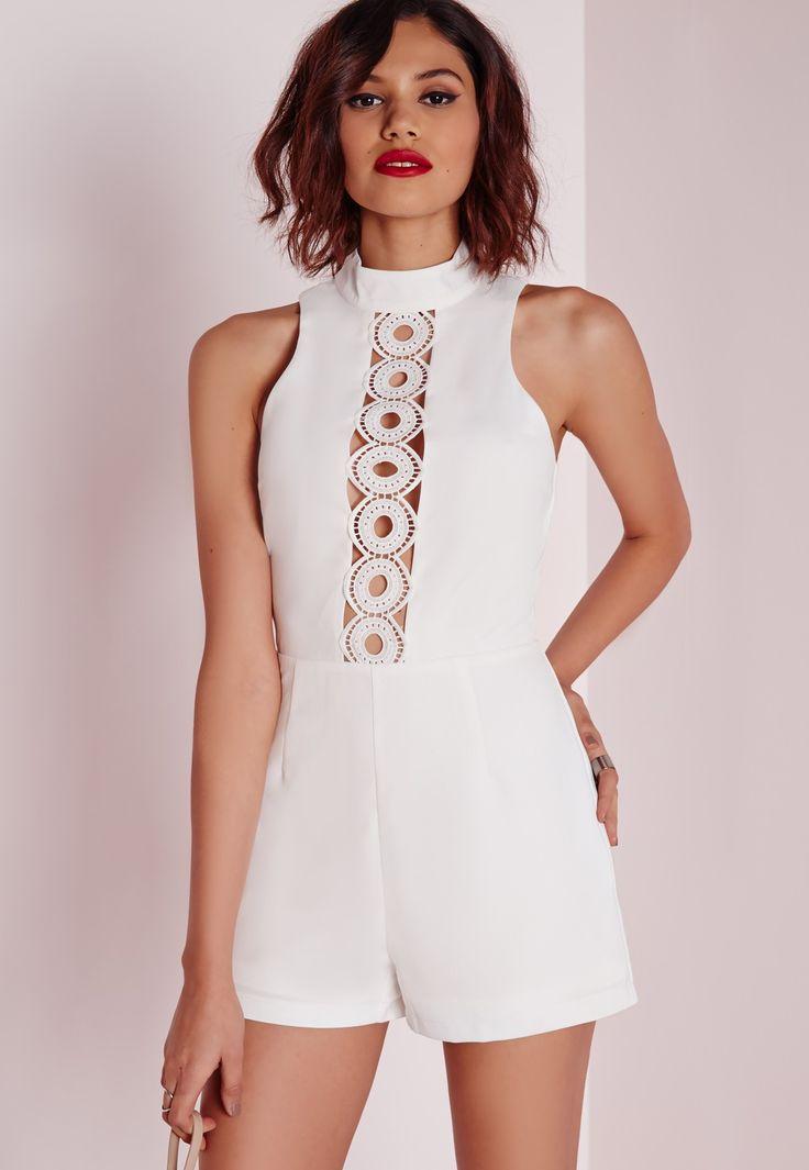 Missguided - Combishort blanc avec bande ajourée en crochet
