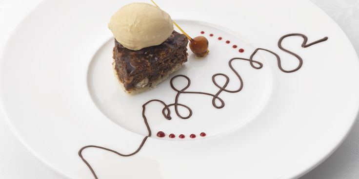 This recipe by Phil Carnegie for chocolate and hazelnut croquant is served with a  popcorn sorbet - it always brings some fun to Inverlochy Castle