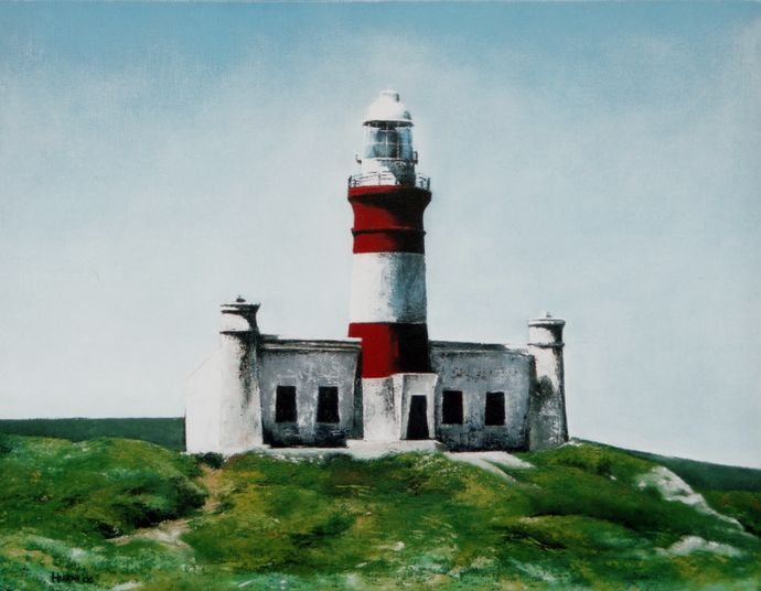 Lighthouse. Cape Agulhas, Cape, South Africa. Oil on canvas by E.Hurni