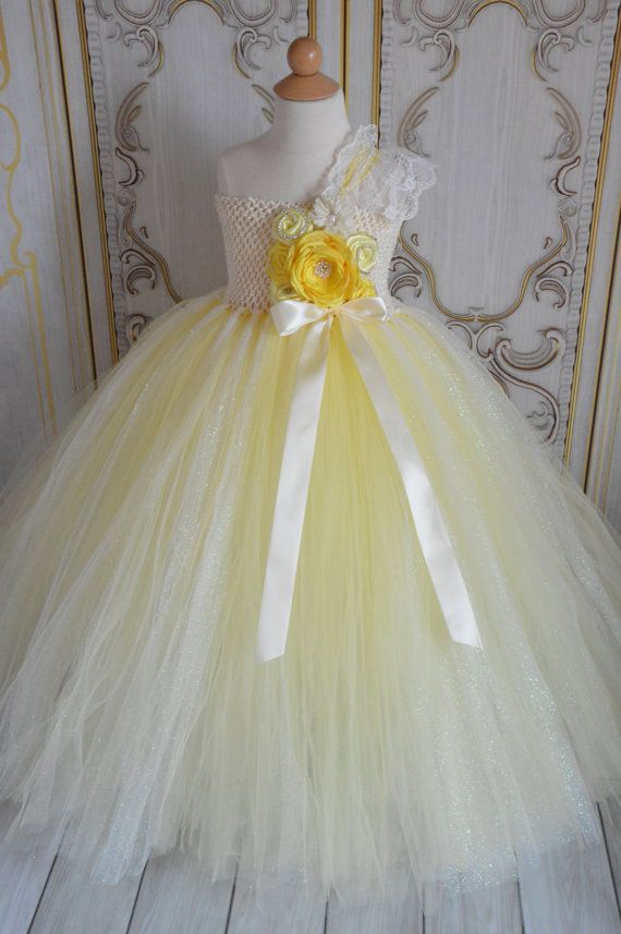 Daffodil Ivory and Yellow flower girl tutu by TutuSweetBoutiqueINC, $70.00