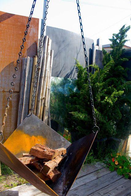 Hanging sheet metal fire pit.