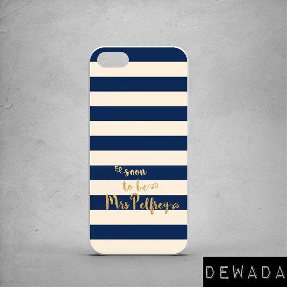 "Bride iPhone 6 case stripes navy cream gold ""soon to be Mrs ..."" by DeWadaSTORE"