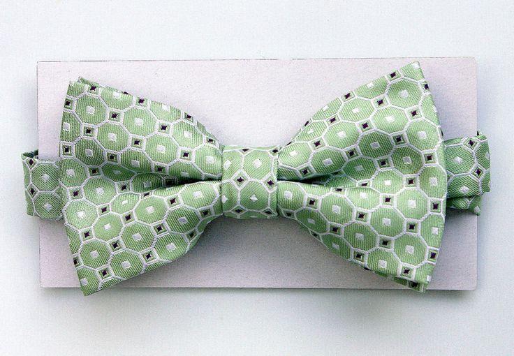 New Light Green Geometric Mens Bow Tie Adjust Tuxedo Prom Wedding Fashion Bowtie #TiesJustForYou #BowTie