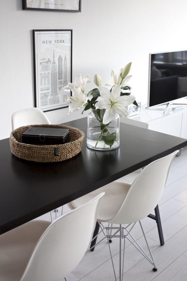 Homevialaura   kitchen   dining space   white lilies   Eames DSR chair   Tikau basket