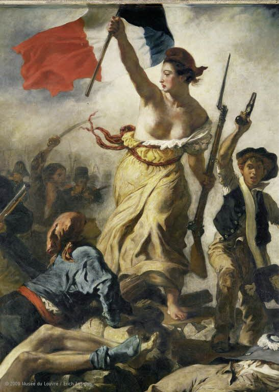 Major Events in History | Louvre Museum | Paris  I'd want to go see this becuase it shows a female leading a revolution. instead of using the sterotypical male leader this artist choose to use a female as the leader.