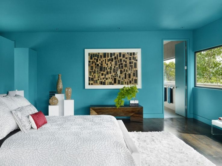 Bedroom Magnificent Blue Bedroom Painting Ideas Plus Wooden Table Featured  White Fluffy Rug And Appealing Bedding
