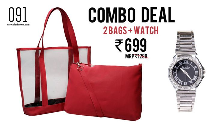 COMBO DEAL : BUY 2 BAGS+ 1 WATCH for Rs 699/- Free Shipping on orders above Rs 500/- . COD available across India.   HURRY!!! Shop Now http://bit.ly/1w8Dzpe  #ohnineone #combodeal #bags #watch #fidato #ohnineone