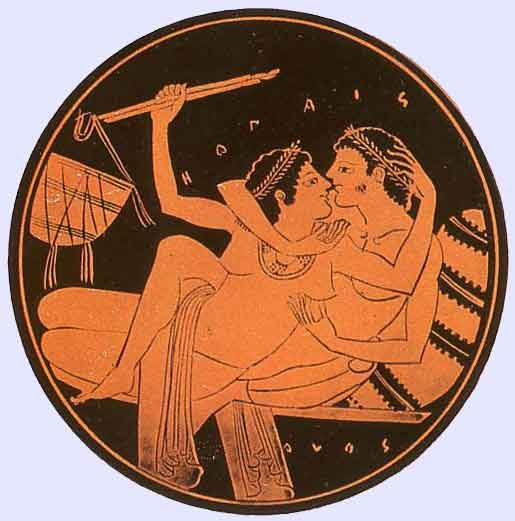 ETRUSCAN PAIR: ANCIENT GREEK PAIRS ARE ALWAYS MEN TO HANDSOME YOUNG BOYS.ETRUSCAN POTTERY C.600BC........Greek Pair, Red figure Pottery 500 BC