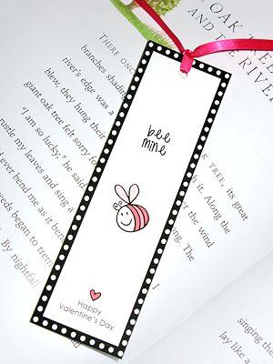 bookmark for Valentine's Day: BEE MINE - printable