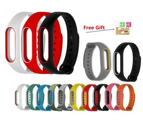 15 colors MiBand 2 Silicone Replace Strap Xiaomi Mi Band 2 Wristbands Smart Bracelet belt rubber 2pcs screen protector free gift