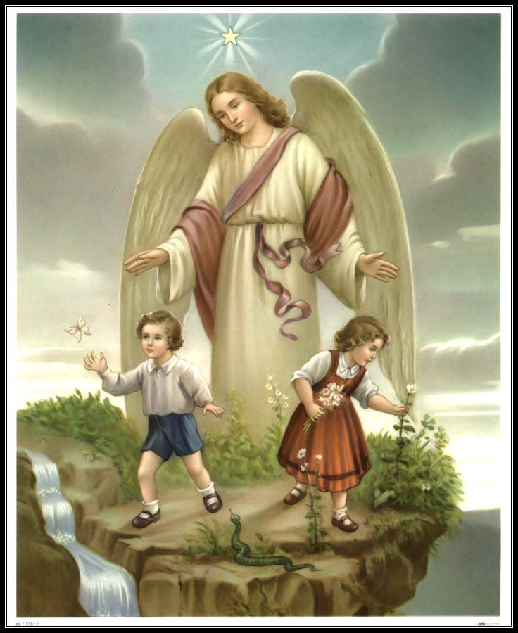 GUARDIAN ANGEL with BOY & GIRL 8x10 Catholic Art Print Picture from Germany  | Angel art, Guardian angels, Gardian angel
