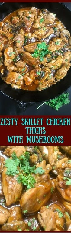 Ready in 35 minutes, this gluten free Zesty Skillet Chicken Thighs With Mushrooms is a yummy flavor kaleidoscope in your mouth. Boneless skinless chicken thighs and a rich and creamy sauce are topped to perfection with freshly chopped cilantro. | http://asprinklingofcayenne.com