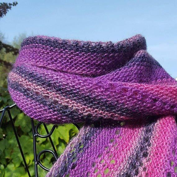Purple Lace Scarf Spring Wardrobe Pink Hand Knit Purple