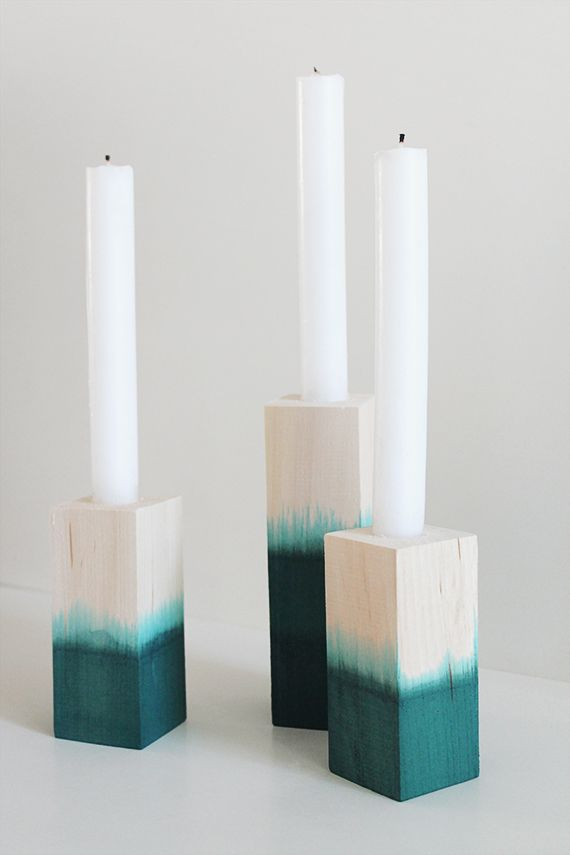 @molly madfis / almost makes perfect' Dip Dyed Candlesticks are super chic... and they'd be a perfect centerpiece for a dinner party! /ES