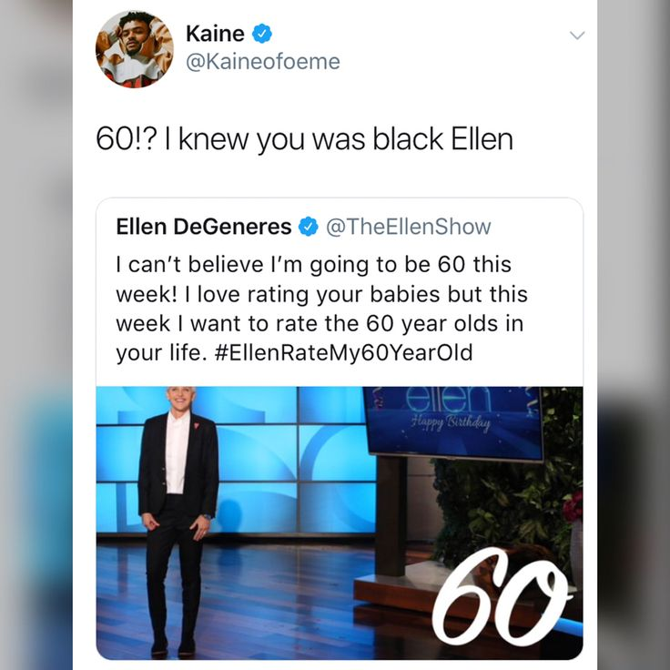TSRStaff: Thembi ( @ThembiTV_ ) _____________________________________ Y'all, #EllenDeGeneres is turning a whole 60-years-old and errrbody and their momma was not ready! _____________________________________ I think we can all agree that sis looks like she could be a good 45-50 years old. [SWIPE] to see what people had to say when they found out how old #Ellen is turning!!