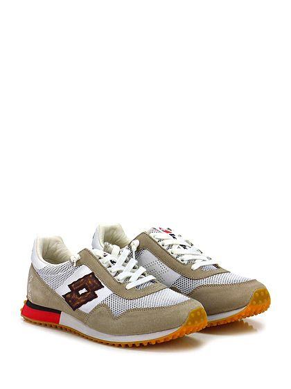 LOTTO LEGGENDA - Sneakers - Uomo - Sneaker in pelle, camoscio e tessuto con suola in gomma. Tacco 25, platform 15 con battuta 10. - BIANCO\TORTORA