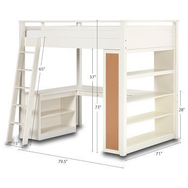 Full size loft bed with storage and desk for a building area ...