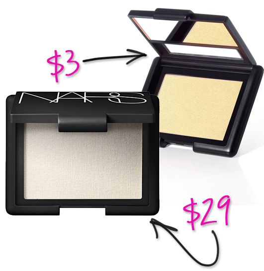 Splurge vs Steal: ELF Makeup Dupes You Can't Resist ELF's blushes are a bit looser than other blushes, but many of the shades are dupes for more expensive options from NARS and MAC. Perhaps my favorite is a highlighter, Albatross/Gotta Glow. Check out great comparison pictures at Glesni's Beauty Blog. Try: Studio Blush (in Gotta Glow) $3 NARS Highlighting Blush (in Albatross) $29