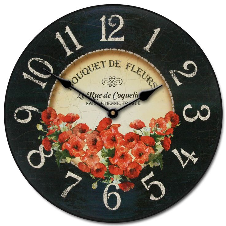 This Floral Clock Has A Vintage Romantic Feel With Print Of Red Poppies On Black And Brown Face You Can Use It As Bedroom Living Room
