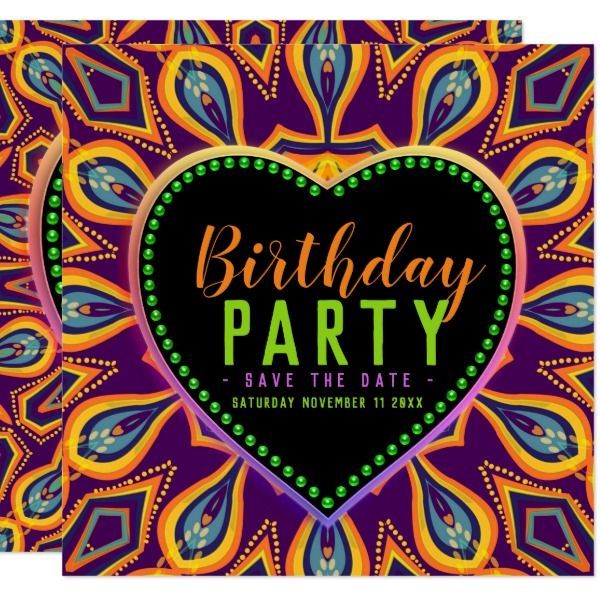 Orange Purple Hippie Child Bohemian Themed Party Card